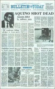 Manila Bulletin Headline on Aquino's assassination