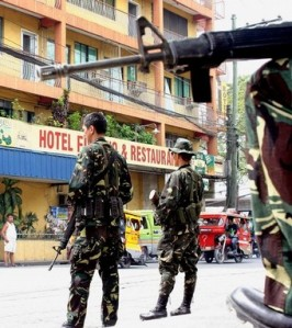 Philippine Army soldiers have massed up their numbers in cities like Cotabato due to growing tensions with the Moro Islamic Liberation Front