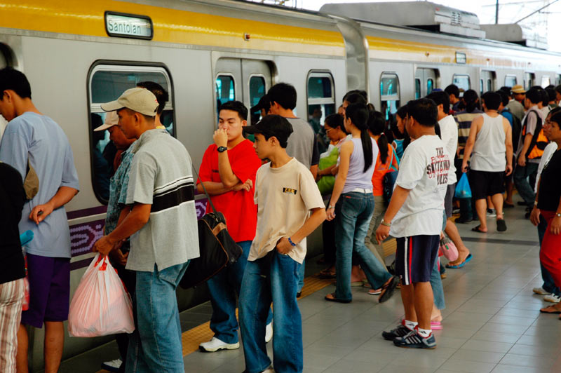 Passengers overcrowd LRT coaches daily.