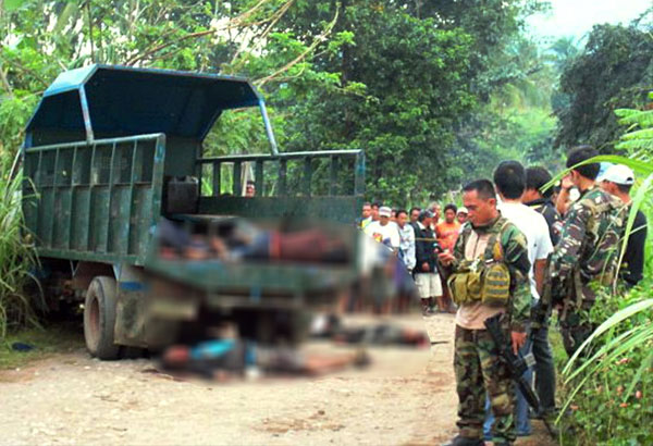 Bodies lay at the crime scene of a recent communist attack in La Castellana town in Negros Occidental.Photo taken from www.philstar.com