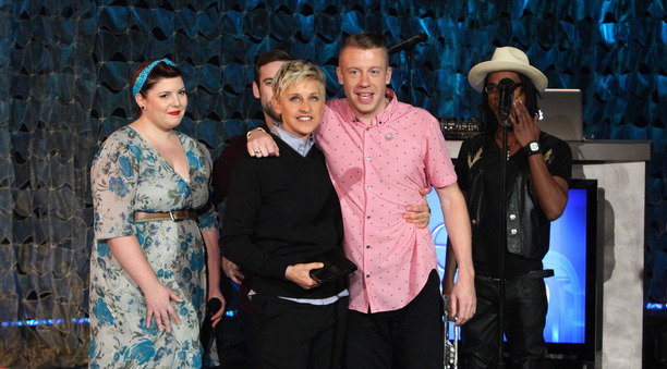 Two prominent crusaders for same-sex marriage rights: Ellen Degeneres and rapper Mackemore. Photo taken from www.ellendegeneres.com