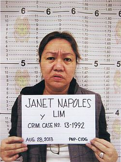 Mugshot of Janet Napoles after she surrendered to President Aquino.