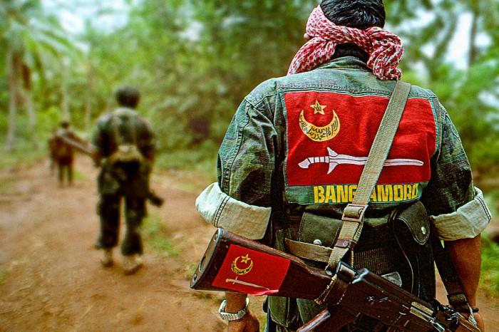 A Bangsamoro fighter in full combat regalia.  Photo taken by the  Bangsamoro-MNLF.