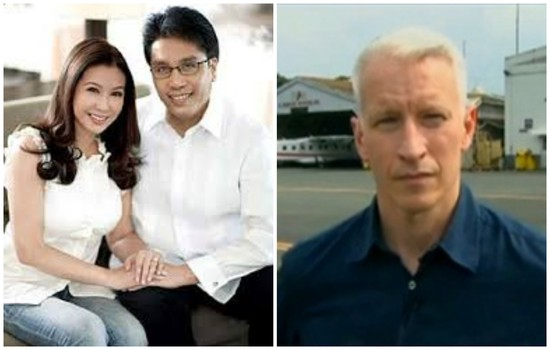 Interior secretary Mar Roxas and his wife, radio and TV broadcaster Korina Sanchez and CNN's Anderson Cooper