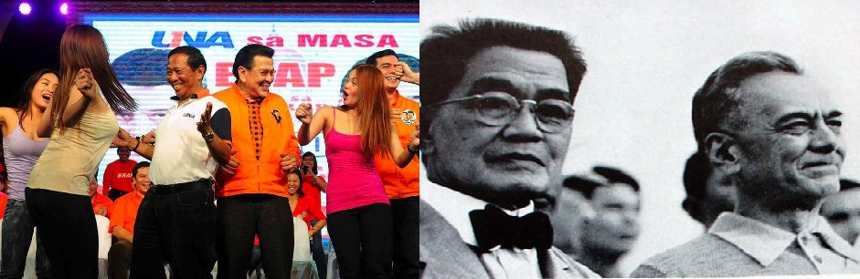 Vice President Binay joining Manila mayor Joseph Estrada in a dance (L). First Philippine president Emilio Aguinaldo and Manuel L. Quezon. (R)
