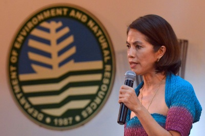 New Environment and Natural Resources Secretary Gina Lopez delivers a speech during turnover rites at the Department of Environment and Natural Resources (DENR) headquarters in Quezon city, Metro Manila, Philippines July 1, 2016. REUTERS/Ezra Acayan - RTX2J77F